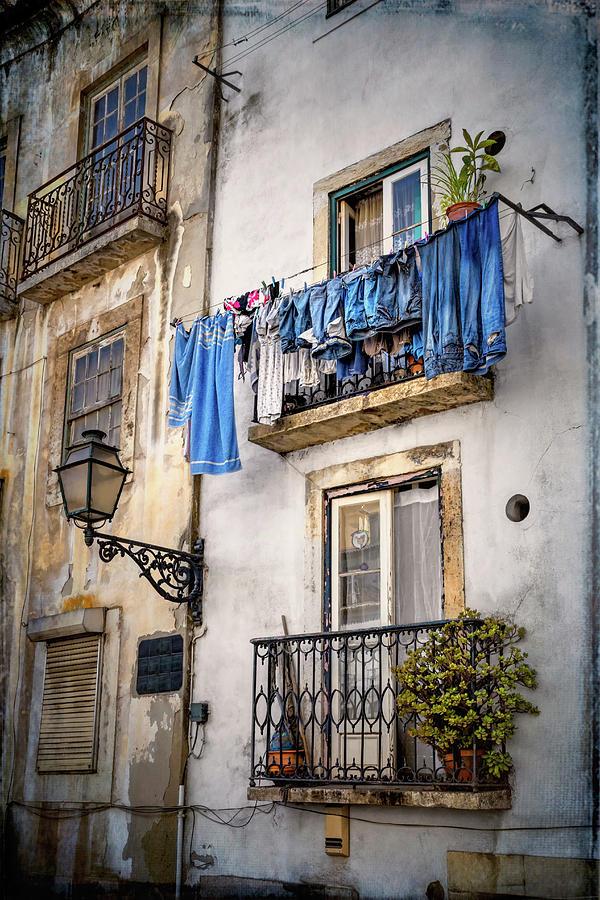 Lisbon Photograph - Washday Blues In Lisbon Portugal  by Carol Japp