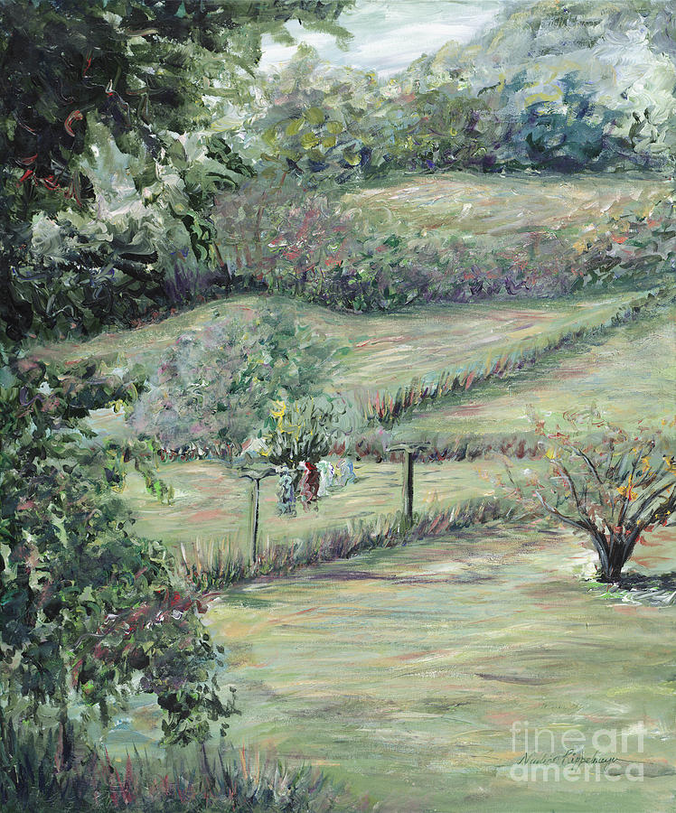 Landscape Painting - Washday In Provence by Nadine Rippelmeyer