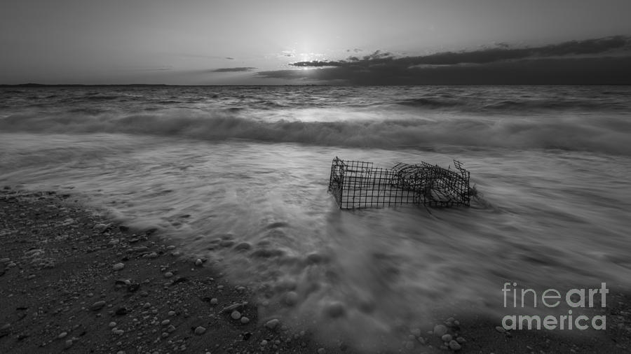 Sandy Hook Photograph - Washed Up Crab Cage 16x9 Bw by Michael Ver Sprill