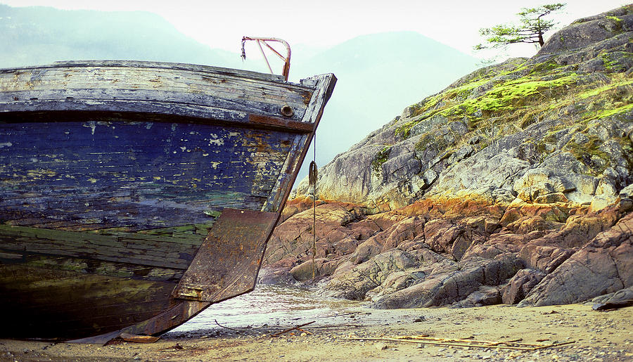 Boat Photograph - Washed Up by John  Bartosik