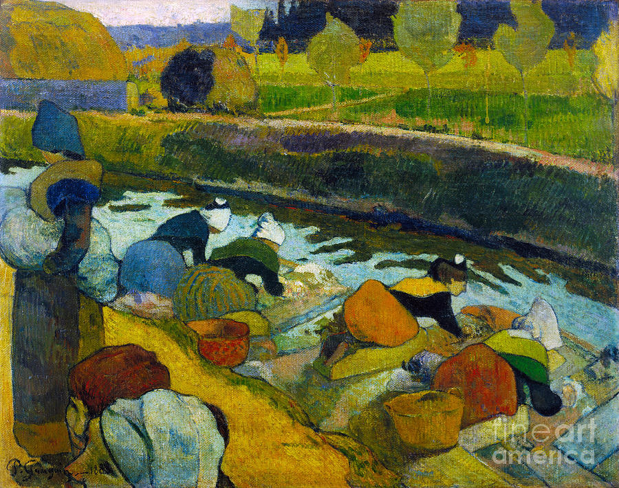 Paul Painting - Washerwomen by Gauguin