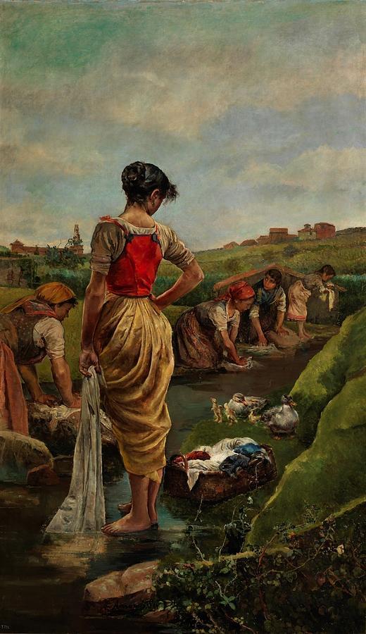 Girl Painting - Washerwomen In Candas Asturias Amoros Botella, Antonio by Amoros Botella Antonio