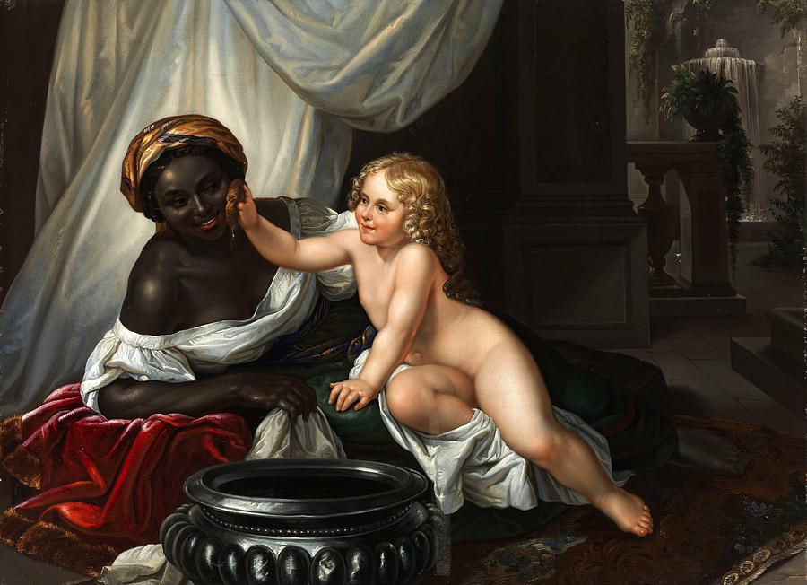 Black Woman Painting - Washing a Moor by After Carl Joseph Begas