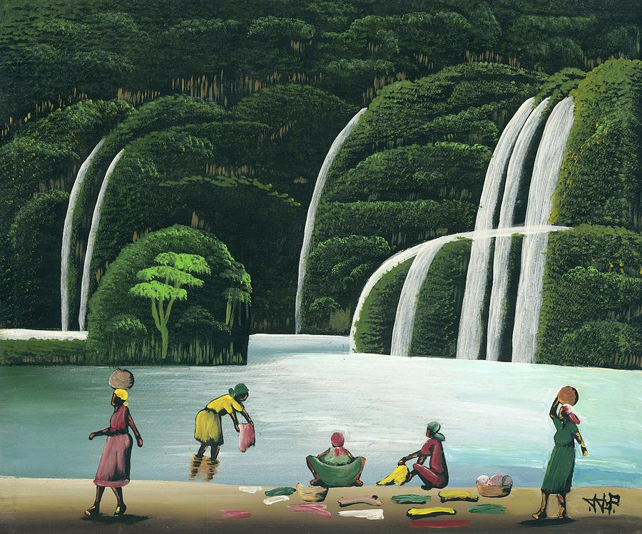 Jojo Painting - Washing At The Falls by John Paul Joseph