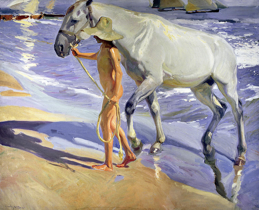 Nudes Painting - Washing The Horse by Joaquin Sorolla y Bastida