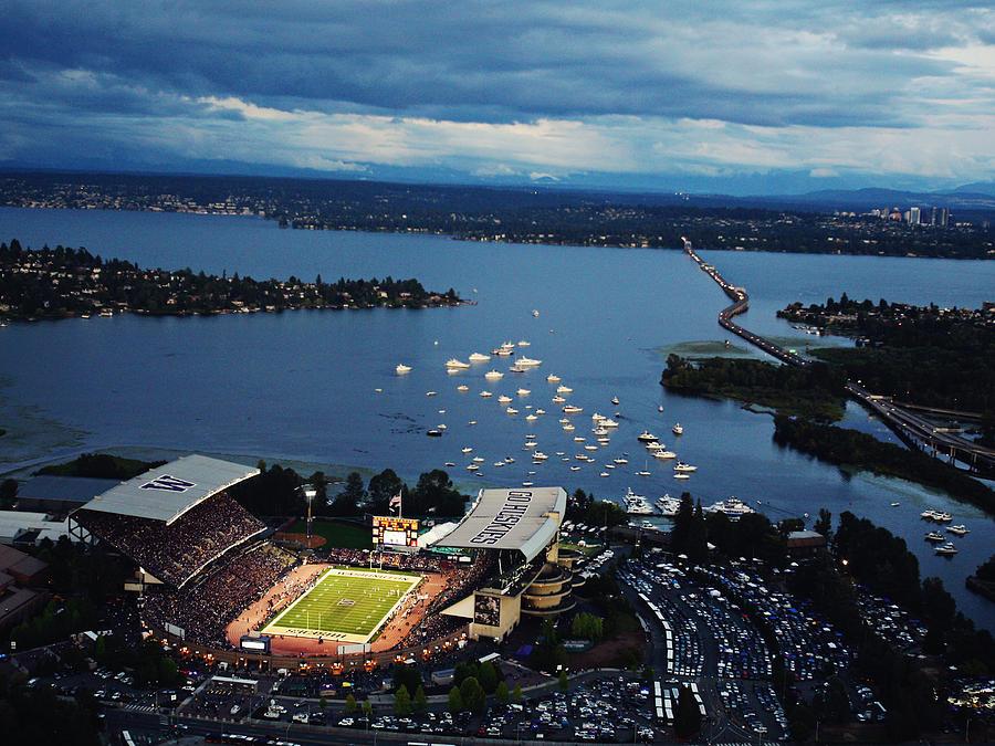 Husky Stadium Aerial Photograph - Washington Aerial View Of Husky Stadium by Jay Drowns