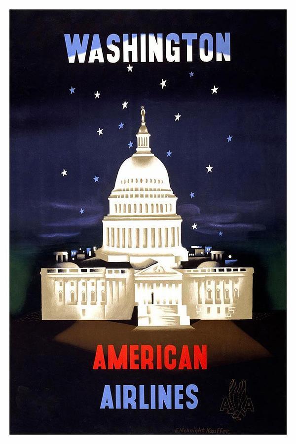 Washington Mixed Media - Washington, American Airlines - Retro travel Poster - Vintage Poster by Studio Grafiikka