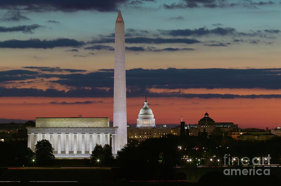America Photograph - Washington Dc Landmarks At Sunrise I by Clarence Holmes