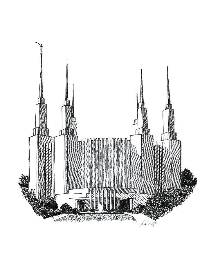 Washington Dc Lds Temple Ink Drawing by DSC Arts