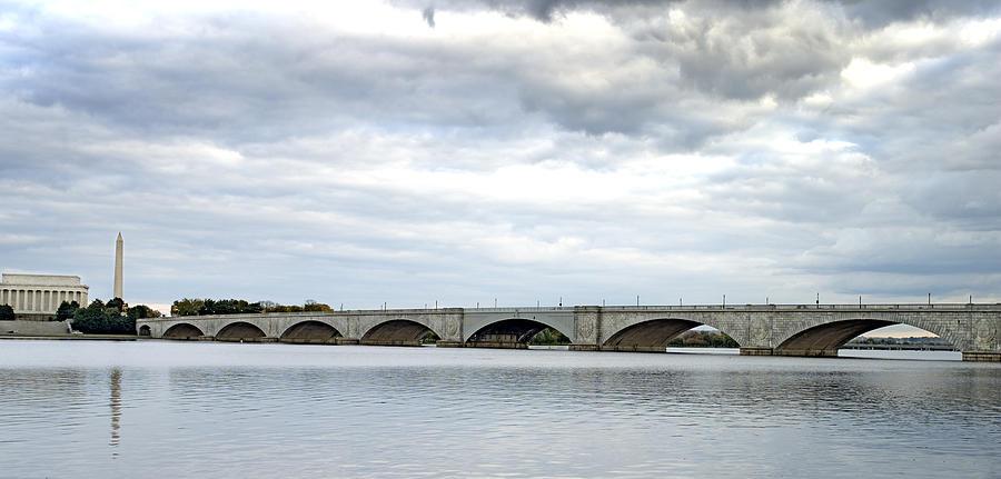 Memorial Photograph - Washington Dc Memorial Bridge Panorama by Brendan Reals