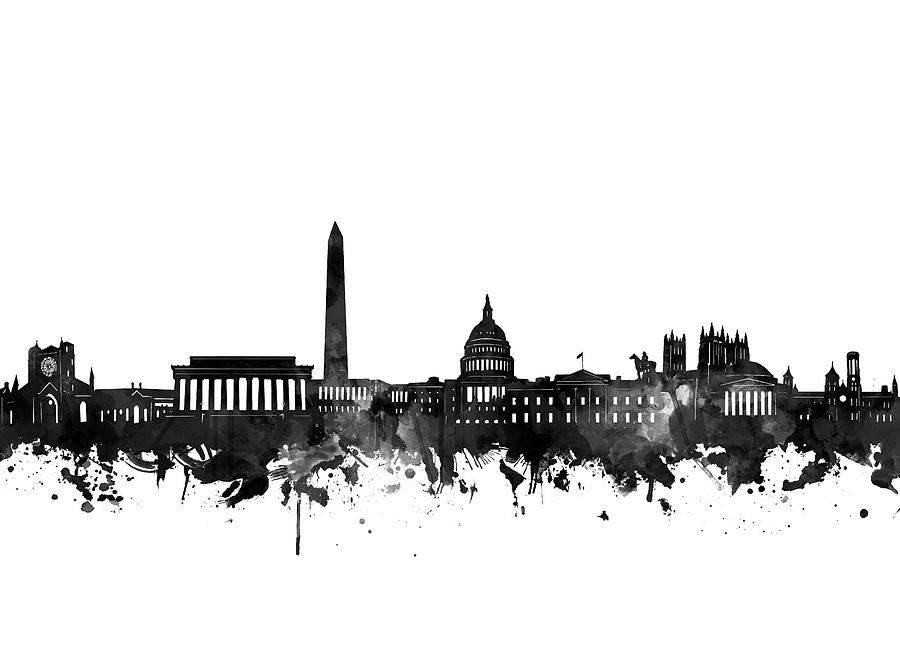 Washington Dc Digital Art - Washington Dc Skyline Black And White by Bekim M