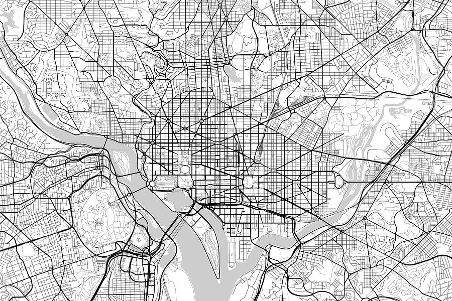 Washington dc usa light map digital art by jurq studio road map digital art washington dc usa light map by jurq studio publicscrutiny Image collections