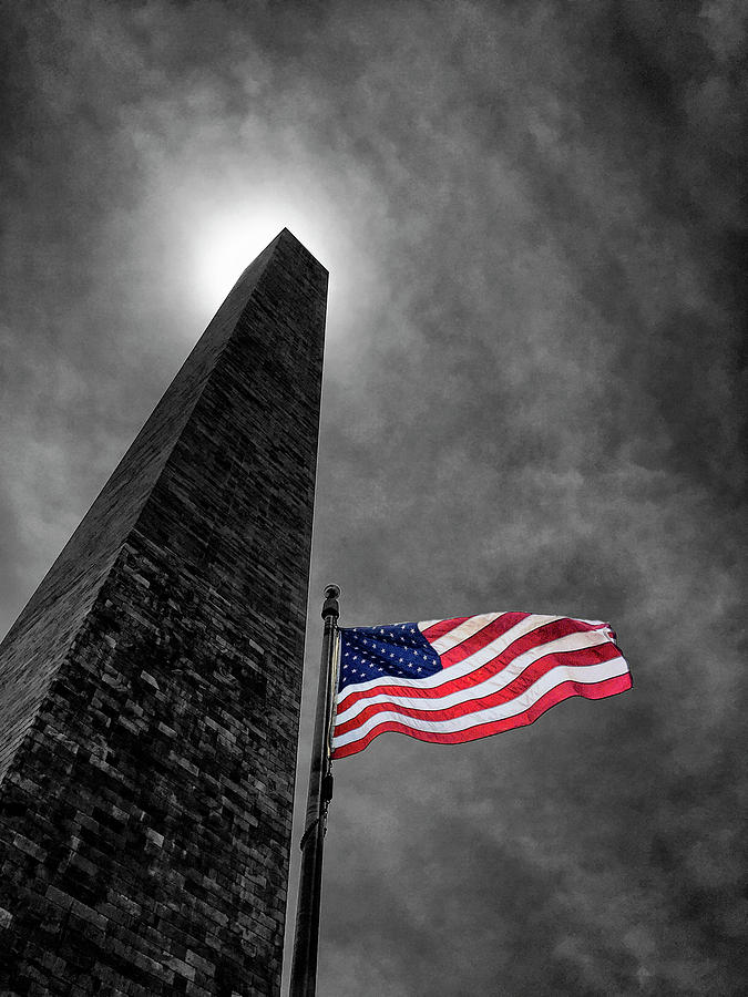 Washington Monument And The Stars And Stripes Photograph