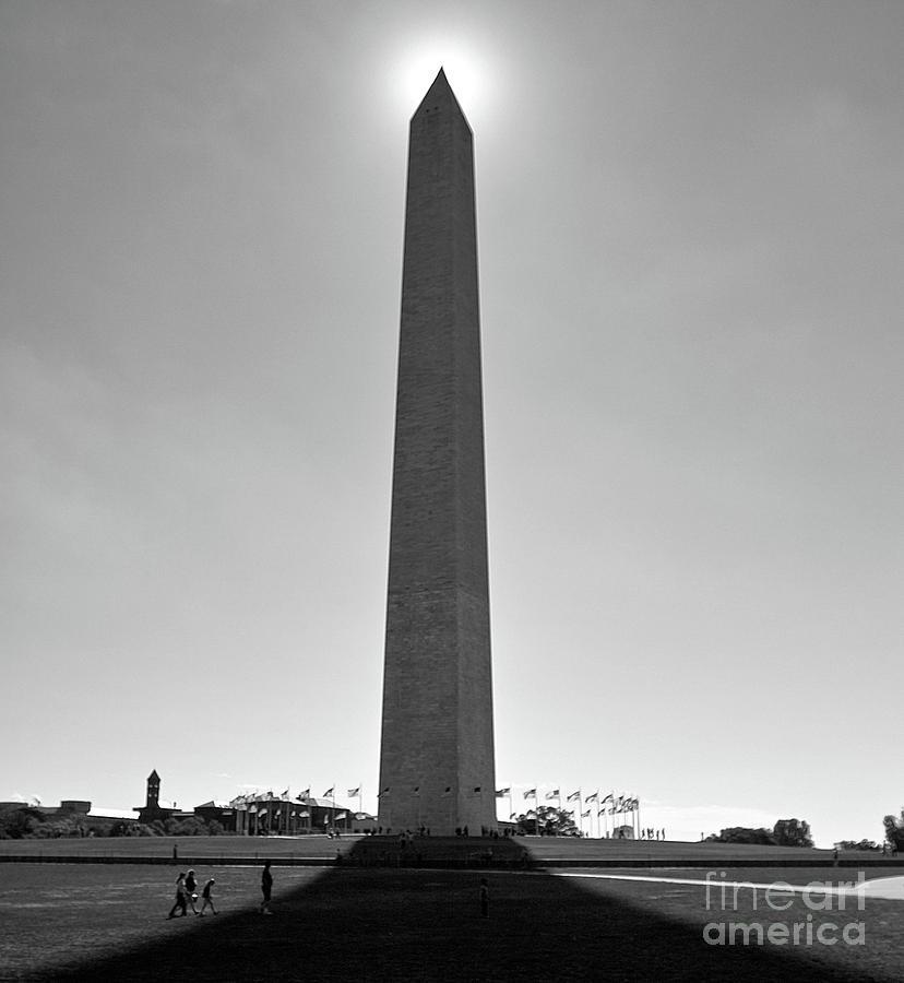 Washington Monument With Sun, Washington Dc Photograph