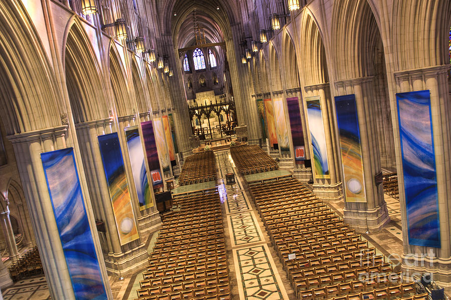 Hdr Photograph - Washington National Cathedral Iv by Irene Abdou
