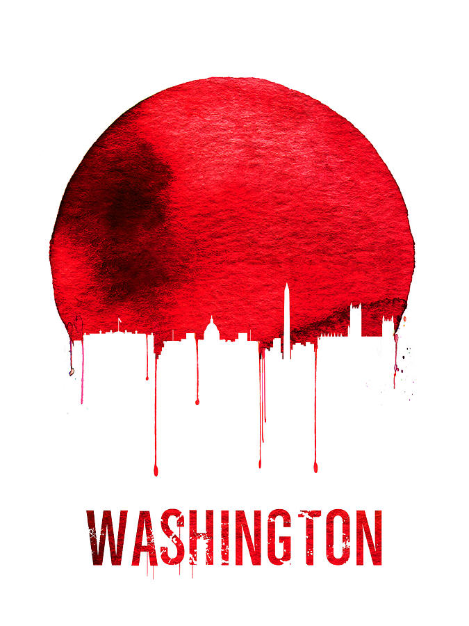 Washington Digital Art - Washington Skyline Red by Naxart Studio