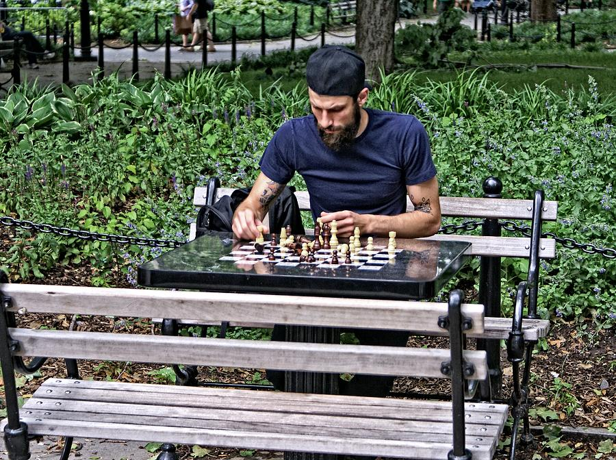Chess Photograph - Washington Square Park Chess Man by John Blount