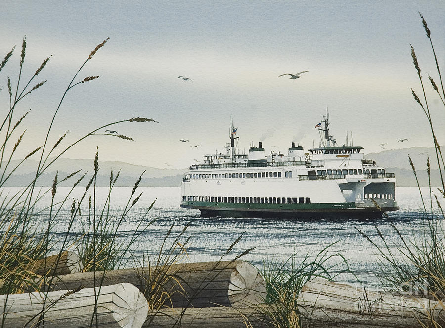 Washington State Ferry Poster Painting - Washington State Ferry by James Williamson