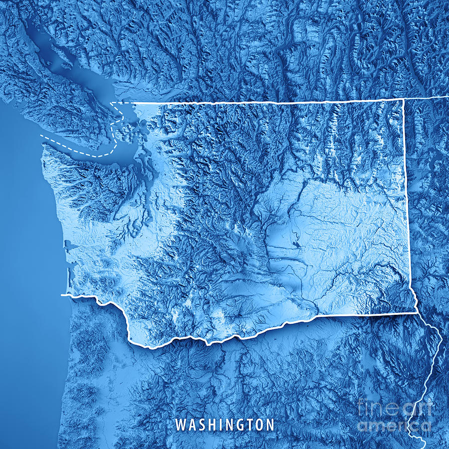 3d Topographic Map Of Usa.Washington State Usa 3d Render Topographic Map Blue Border By Frank Ramspott