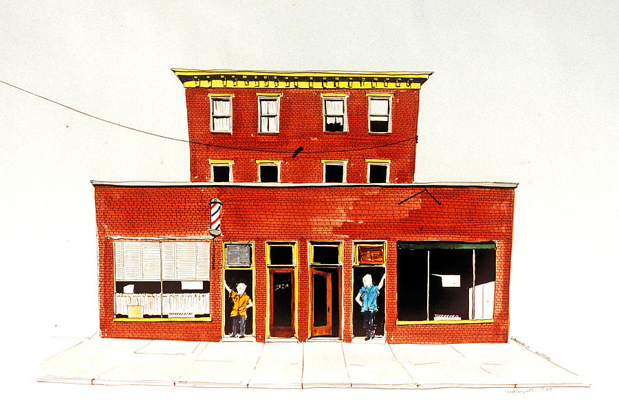 Barber Shops Painting - Washington Street Barbers by William Renzulli