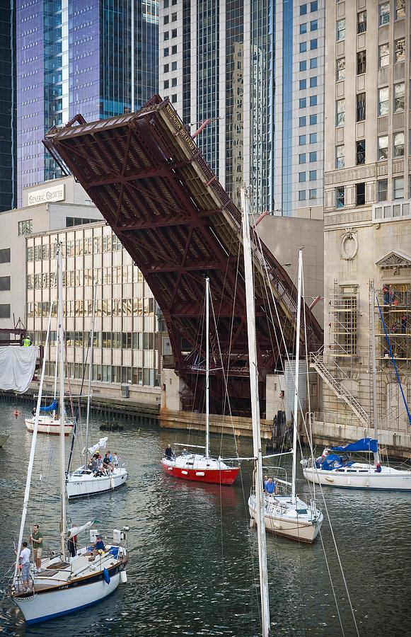 Chicago Photograph - Washington Street Bridge Lift Chicago by Steve Gadomski