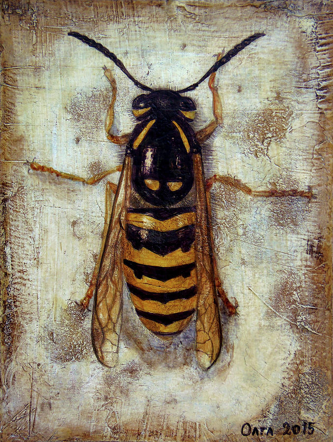 Wasp Painting - Wasp by MyFolkArt Paintings