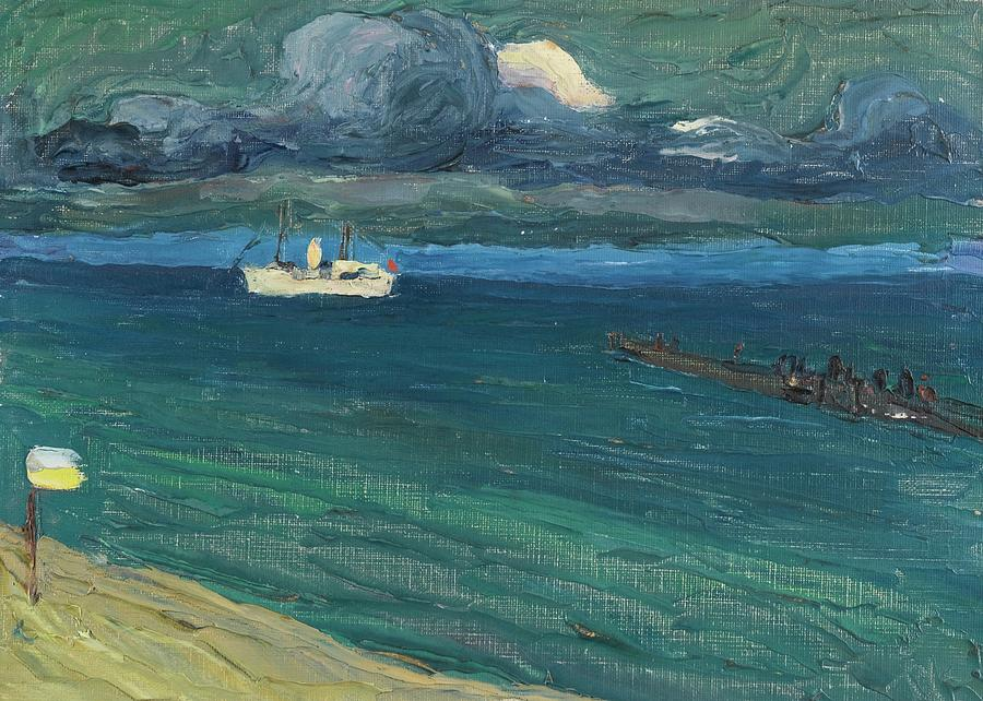 Nature Painting - Wassily Kandinsky 1866 - 1944 Rapallo, Seascape With Steamer by Wassily Kandinsky