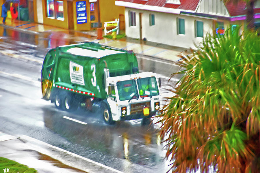 Waste Disposal Truck on Rainy Day by Gina O'Brien