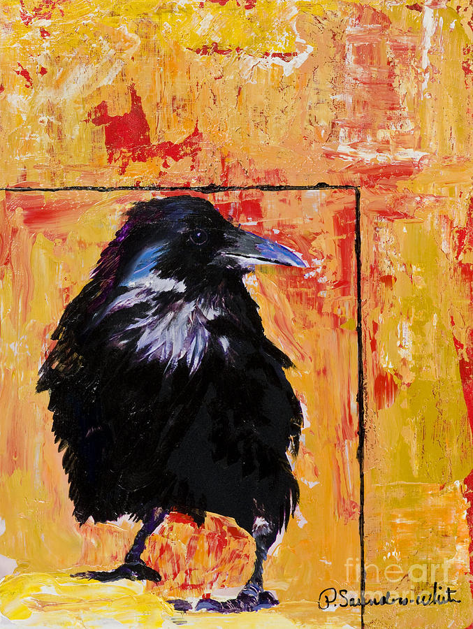 Raven Painting - Watch And Learn by Pat Saunders-White
