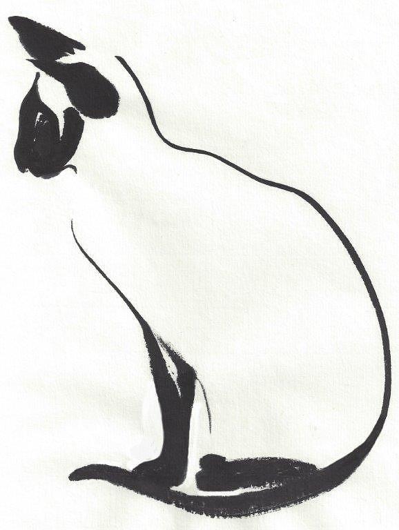 Cat Painting - Siamese Silhouette  by Terri Harris