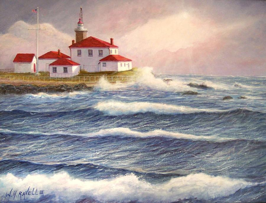 Seascape Painting - Watch Hill Lighthouse In Breaking Sun by William H RaVell III