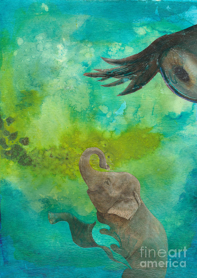 Baby Elephant Mixed Media - Watch Me. Watch Me by Paulette Boudreau