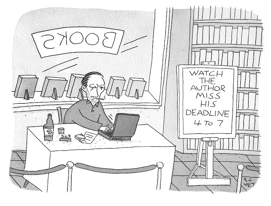 Watch The Author Miss His Deadline Drawing by Peter C Vey