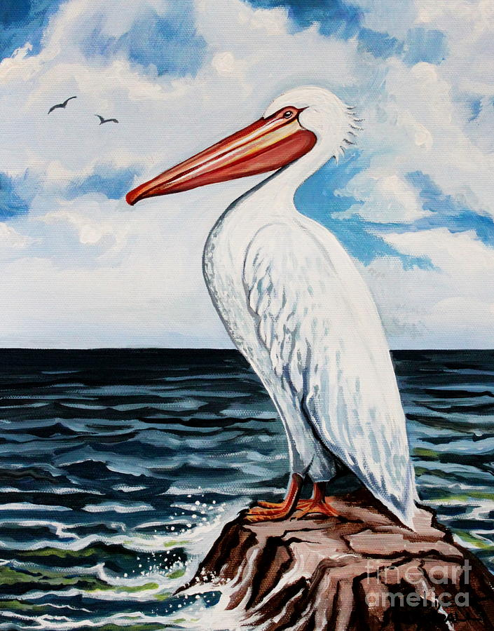 Bird Painting - Watcher Of The Sea by Elizabeth Robinette Tyndall