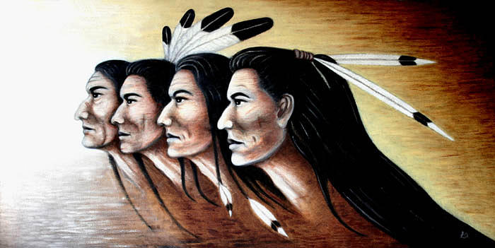 Native Americans Painting - Watchers by Erla Alberts