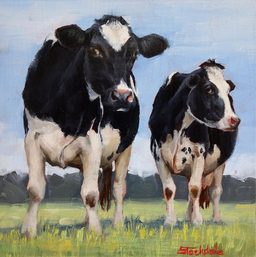 Watchful Cows Mini Painting  by Margaret Stockdale