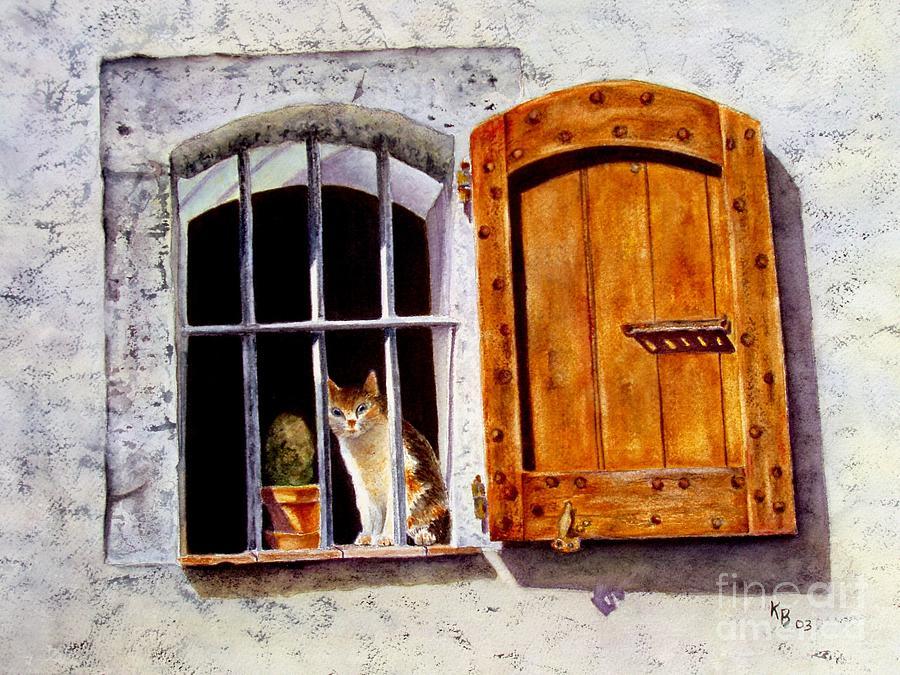Cat Painting - Watchful Eyes by Karen Fleschler