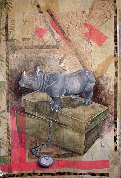 Rhinoceros Painting - Watchful Rhino by Sandy Clift
