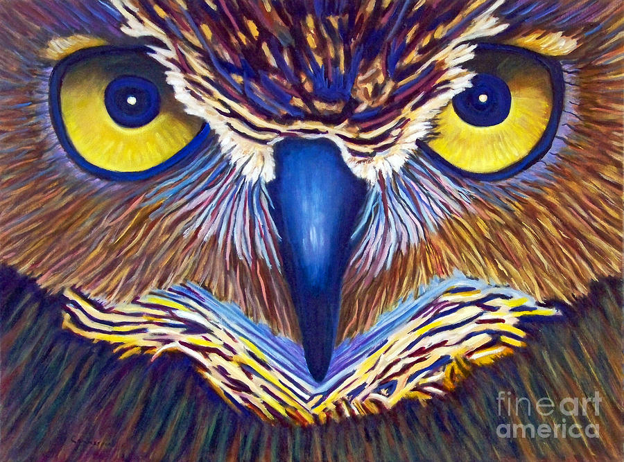 Owl Painting - Watching by Brian  Commerford