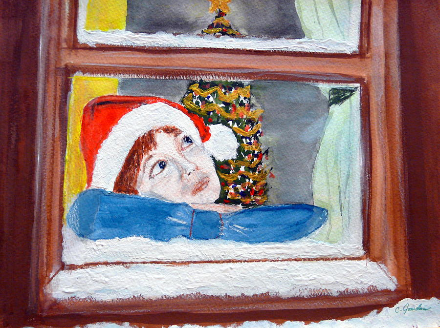 Christmas Painting - Watching For Santa by Cathy Jourdan
