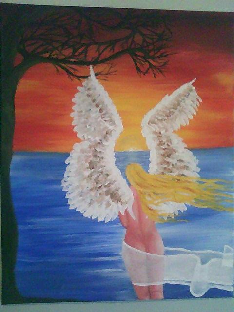 Angel Painting - Watching... by Hollie Leffel