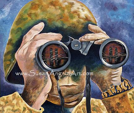 Patriotism Painting - Watching Over America by Susan-Angelo  DeBay