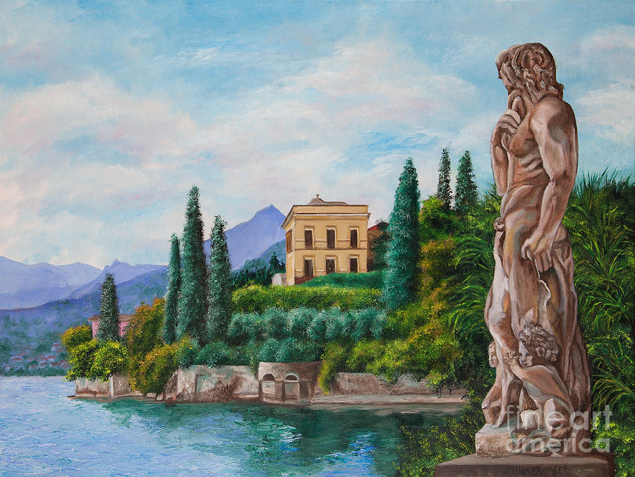 Lake Como Italy Painting Painting - Watching Over Lake Como by Charlotte Blanchard