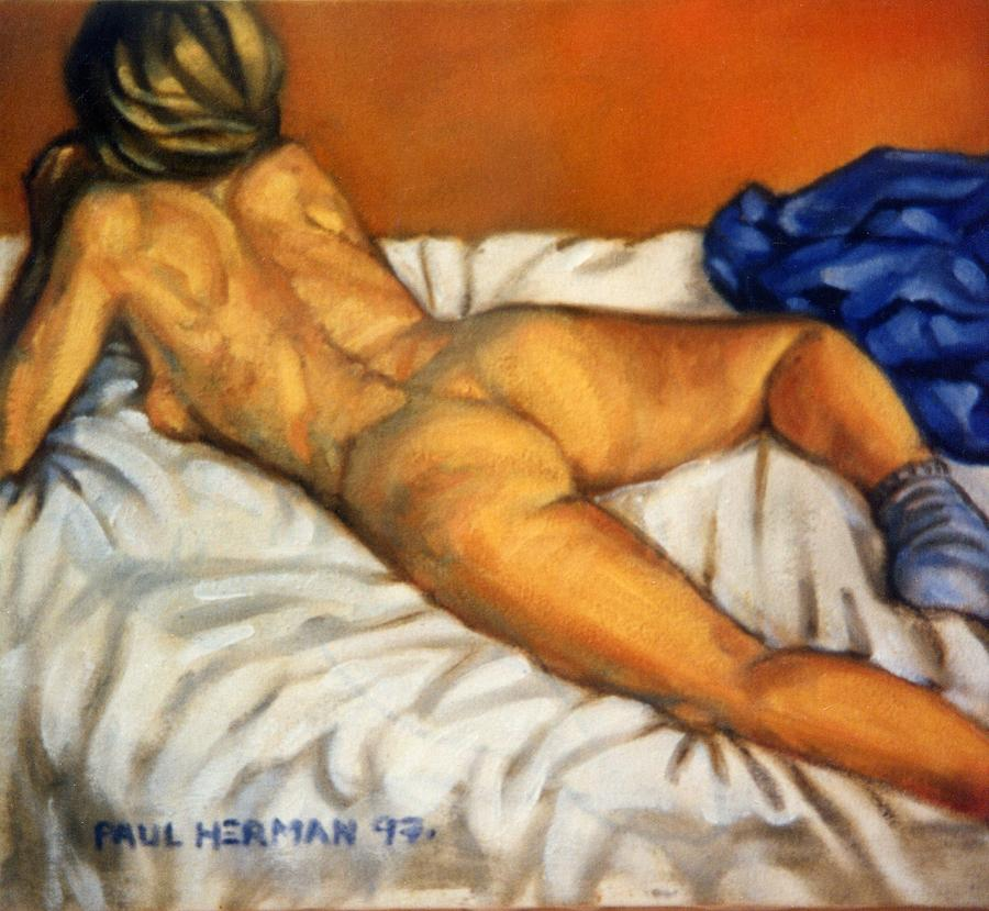 Nude Painting - Watching television by Paul Herman