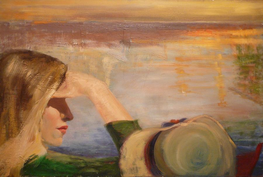 Long Hair Painting - Watching The Sails by Irena  Jablonski