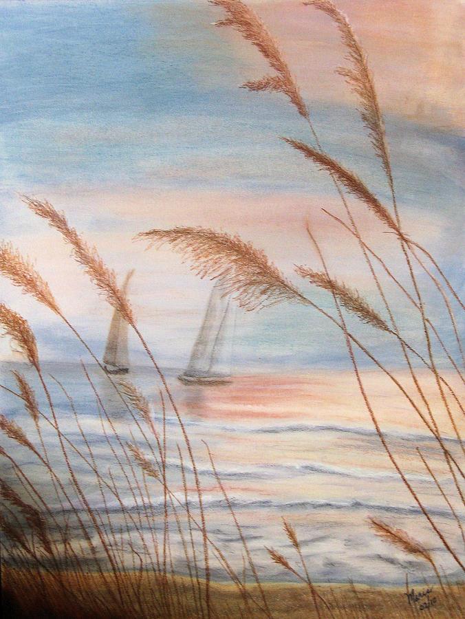 Ocean Pastel - Watching The Sails by Maris Sherwood