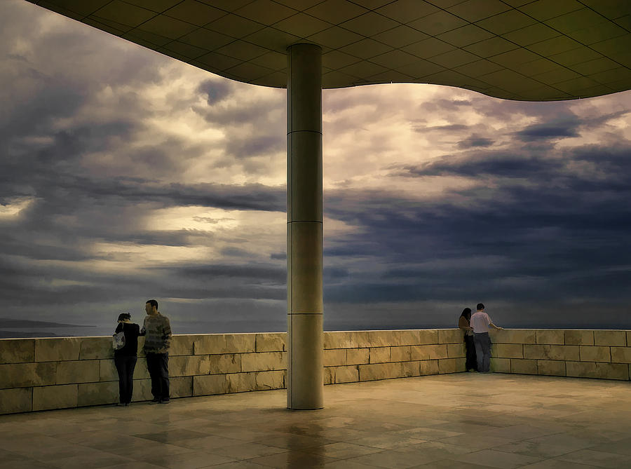 Getty Center Photograph - Watching The Storm At The Getty by Lynn Andrews