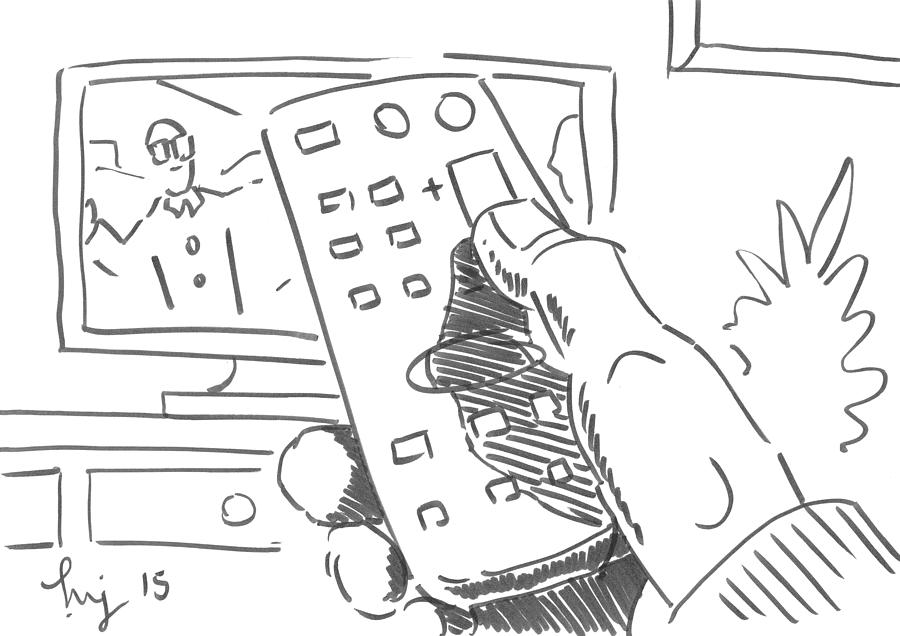 watching tv using the remote control cartoon