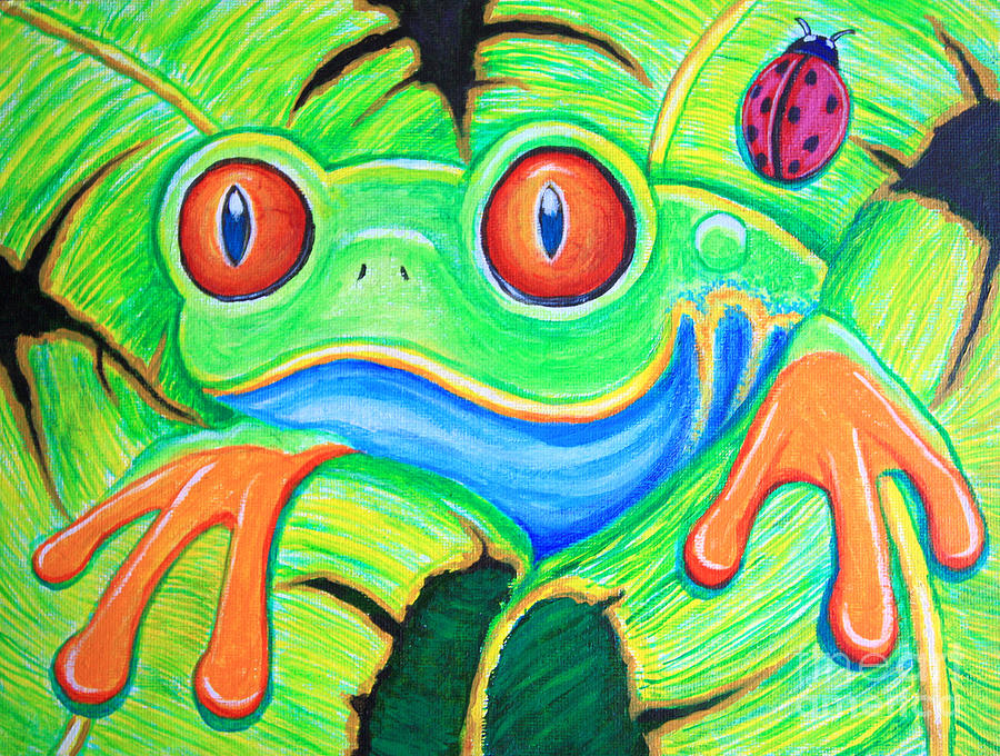 Frog Painting - Watching You Red Eyed Tree Frog by Nick Gustafson