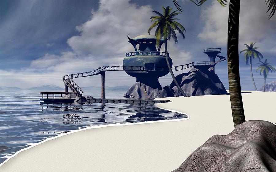 Surreal Digital Art - Watchtower Beach by Cynthia Decker